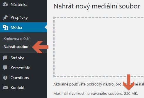 Navýšení upload limitu