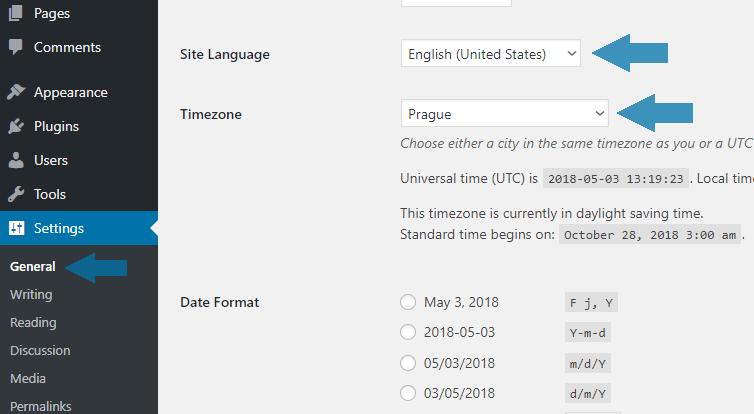 Přepnutí wordpressu do češtiny
