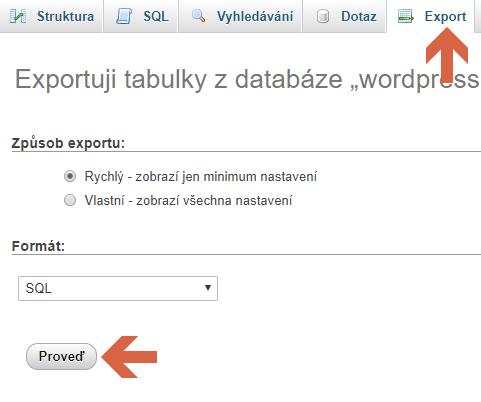 export v phpMyAdmin
