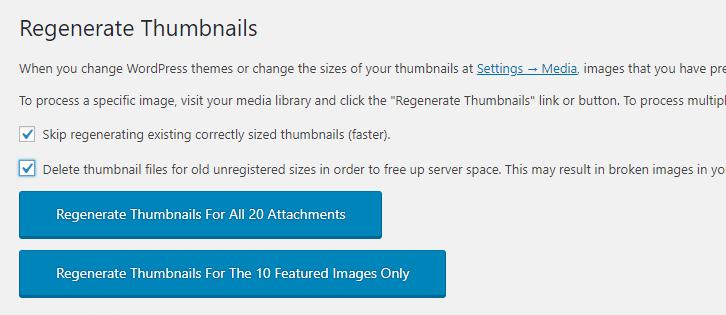 screenshot Regenerate Thumbnails