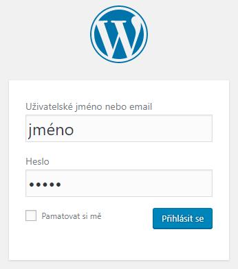 přihlášení do WordPress